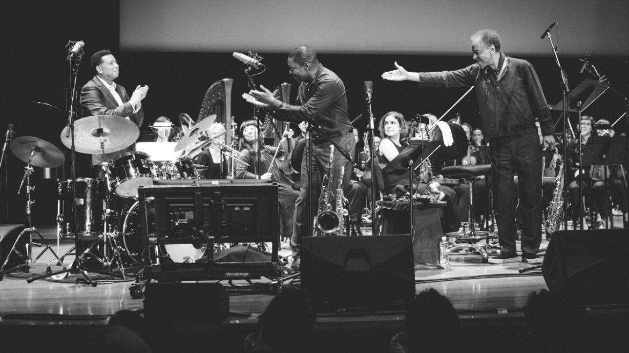 "Denardo Coleman, Ravi Coltrane, Henry Threadgill performing the soundtrack to ""Naked Lunch"""
